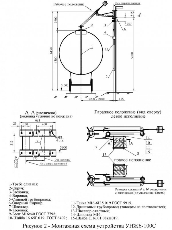 Устройство УНЖ6-100С монтаж. схема