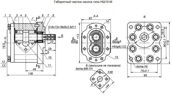 Насос шестеренный НШ10-М чертеж